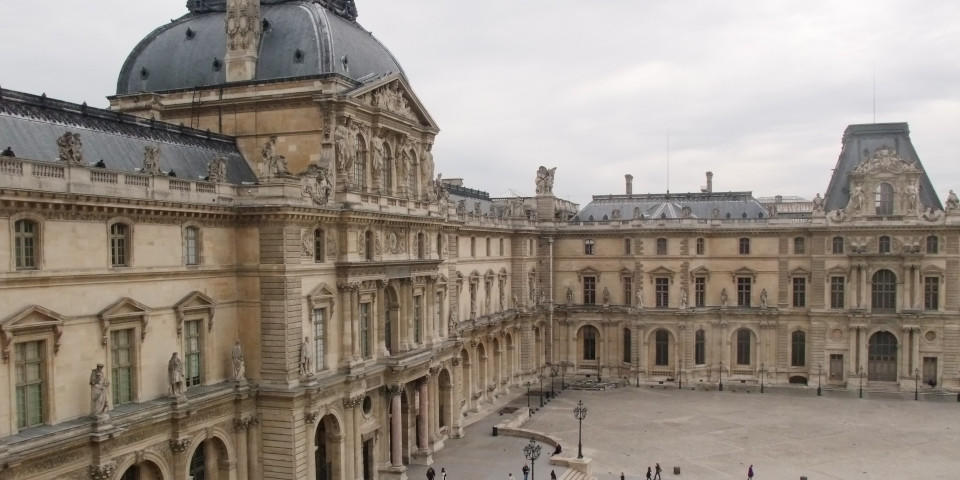 Aerial view of the Royal Louvre Palace in Paris