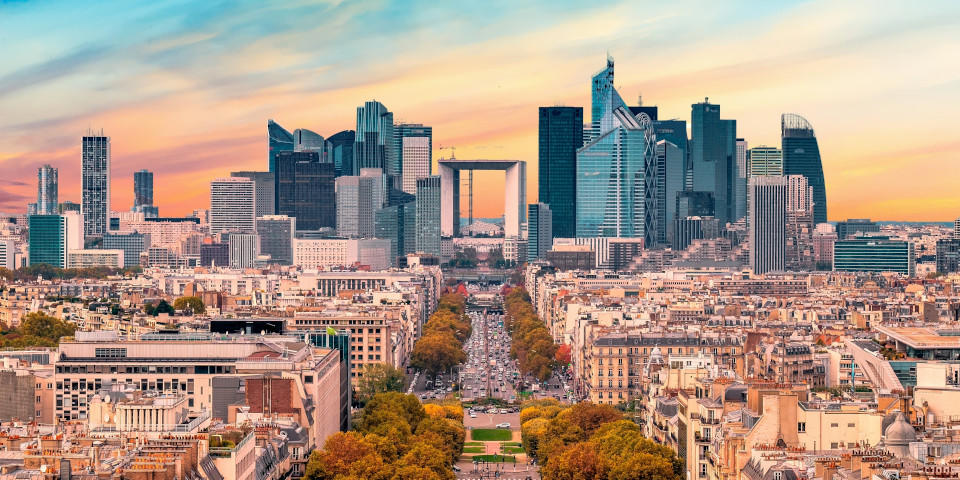 Aerial view of the Champs Elysees in autumn with the Defense in the background in Paris