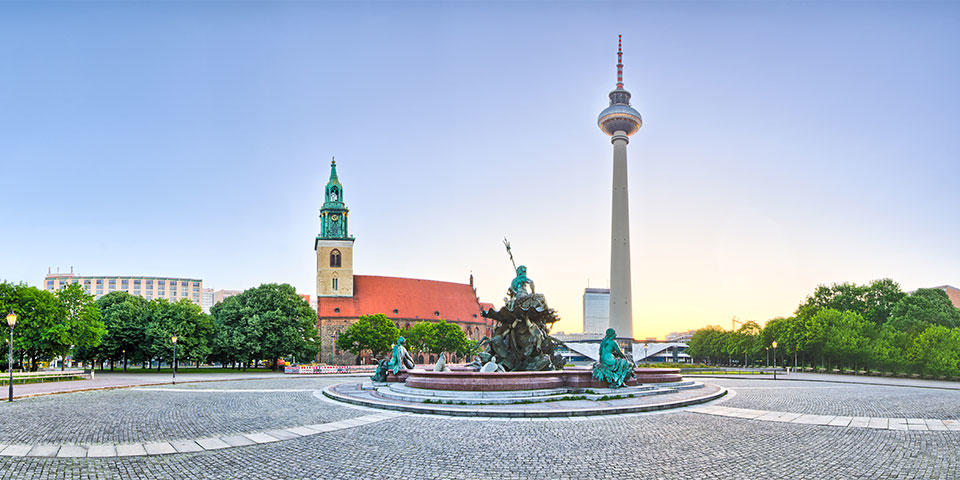 Alexanderplatz in Berlin with the Television Tower in the background
