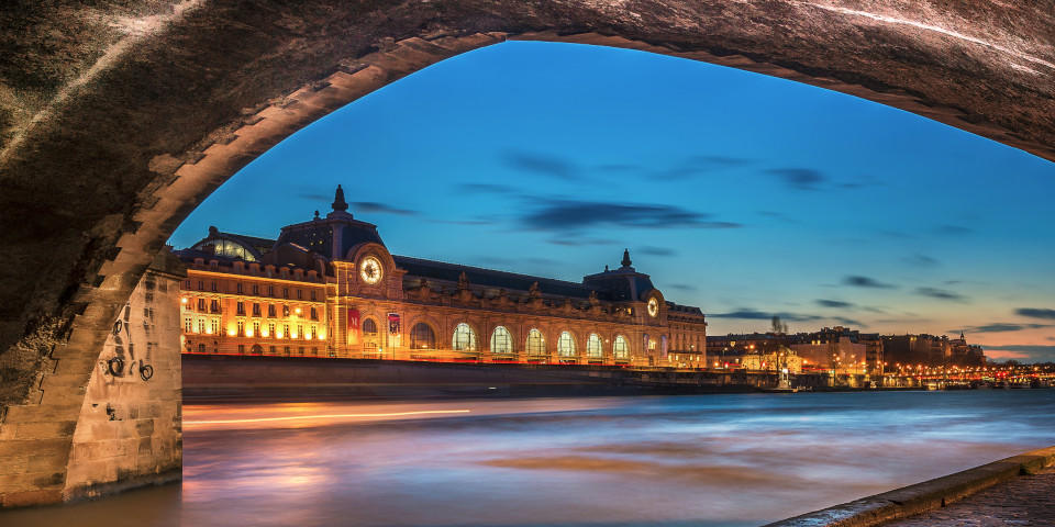 Orsay museum in Paris illuminated at night