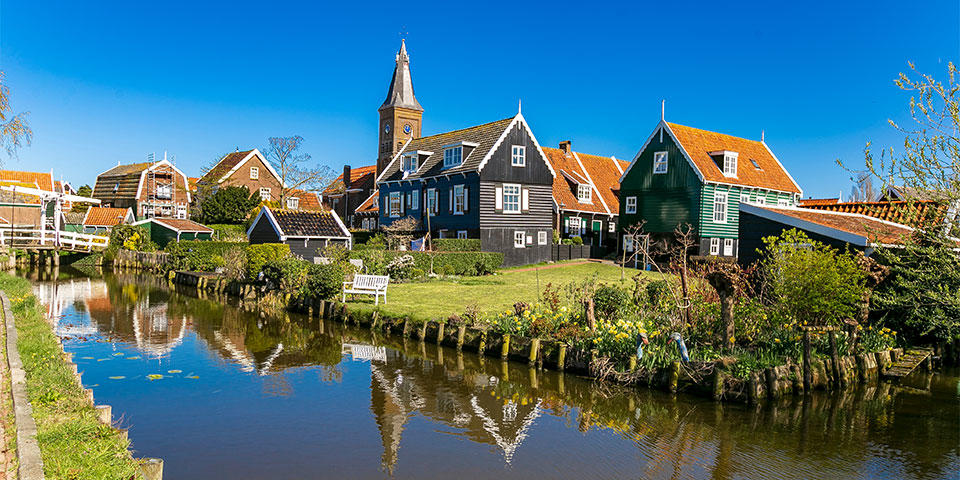 Typical wood houses in the Marken island