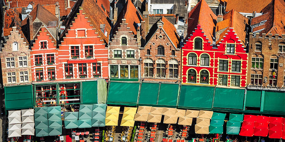 Aerial view of the square in Bruge with colorful houses