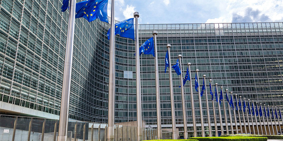 Flags of the European Union in front of the Berlaymont Building in Brussels