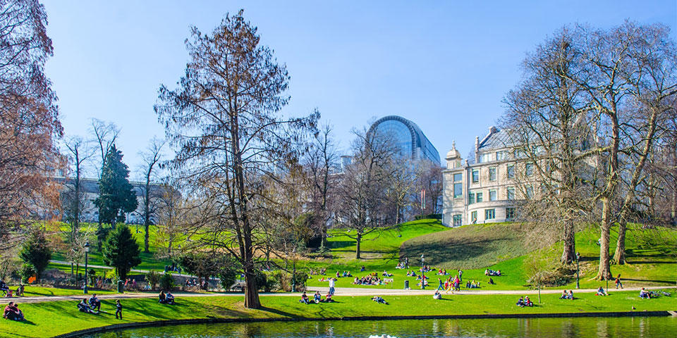 Parc Leopold in Brussels with the European Parliament in the background
