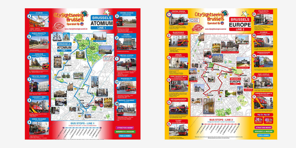 Map tourist Bus Brussels