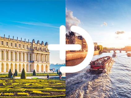 Palace of Versailles and its gardens in Paris and Tourist boat on the Seine River linked by a + sign