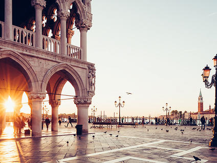 Sunset at the Doge's Palace in Venice