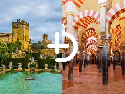 The Alcázar de los Reyes Cristianos Córdoba and the Mosque of Córdoba joined by a + sign from Buendía Tours