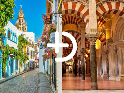 Jewish quarter in the heart of Córdoba and Forest of arches of the Mosque of Córdoba joined by a + sign from Buendia Tours