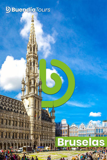 Cover of the Buendía Tours Brussels Travel Guide with the Royal Palace and the Buendía Tours Logo